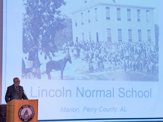 Gray Franklin, descendent of two of the Marion Nine, gives a presentation on the ASU campus in Montgomery, Ala. on Tuesday November 21, 2017.