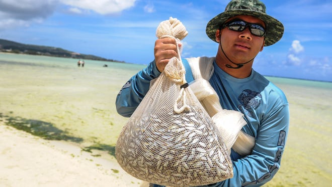 In this file photo, Tevin Santos proudly displays a sack of mañahac
