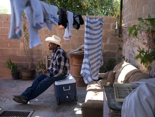 Miguel Estevan, at his family's home in Caborca, Sonora,