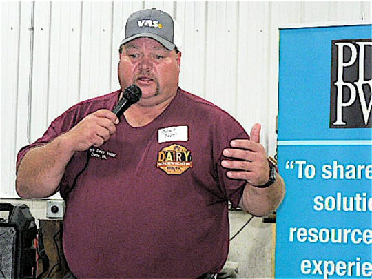 Chuck Ripp explained the operation of  the family farm during a PDPW ACE twilight meeting at Ripp's Dairy Valley.