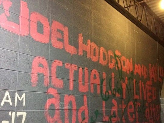 An Ashwaubenon High School alum of the 1970s, Joel Hodgson was surprised to see his signature on an auditorium wall was still there.