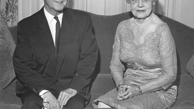 Mr. and Mrs. Newton Maer celebrate their 50th wedding anniversary in 1960.