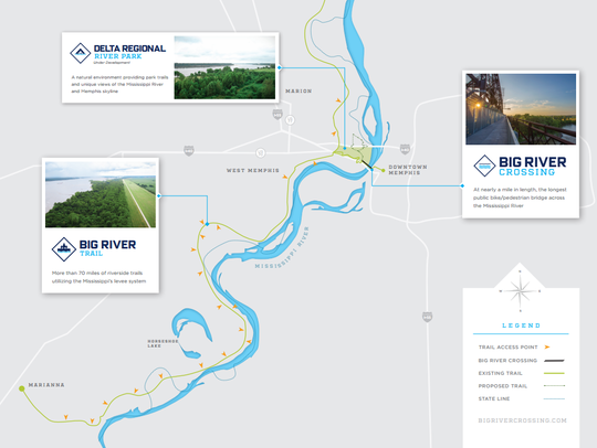 The Big River Trail follows the Mississippi River more