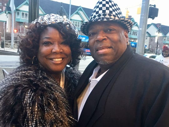 Dorothy and Darryl Bennett of Grosse Pointe Woods get ready to enter Little Caesars Arena Wednesday, Feb. 21, 2018, in Detroit for the Charlie Wilson and R. Kelly concert.