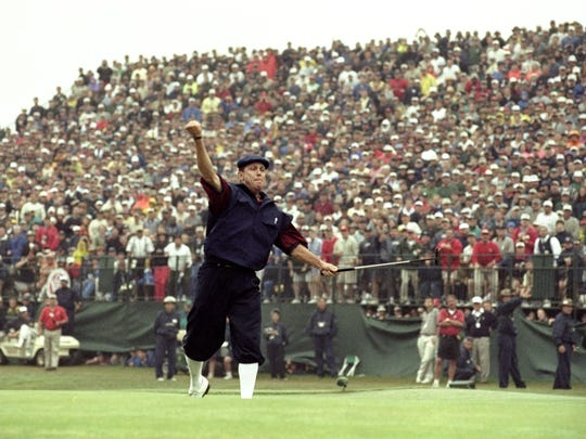 20 Jun 1999:  Payne Stewart of the United States celebrates victory after sinking his final putt during the last day of the 1999 US Open played on the number two course at Pinehurst in North Carolina, USA.