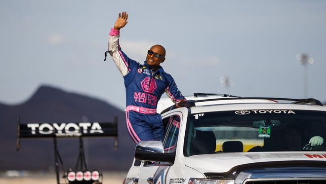 NHRA top fuel driver Antron Brown during the Toyota Nationals at The Strip at Las Vegas Motor Speedway.