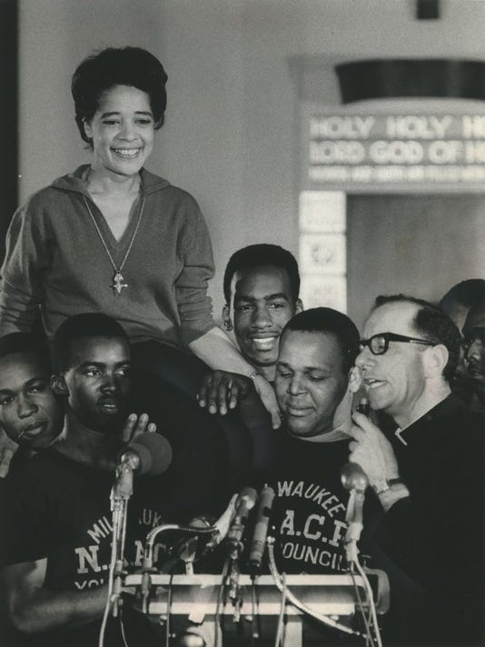 Vel Phillips & Father James Groppi with NAACP Youth Council