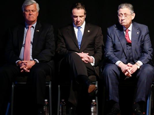 Andrew Cuomo,Sheldon Silver,Senate Republican leader Dean Skelos, R-Rockville Centre