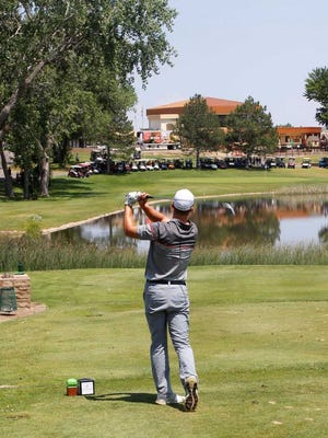 Calum Hill tees off on the 18th hole during the final round of the San Juan Open at the San Juan Country Club.