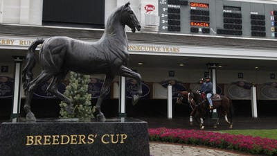 The travelling Breeders' Cup paddock statue at Churchill Downs in 2011.