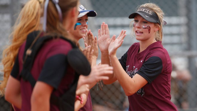 Hamilton's Taylor Gindlesperger is introduced before a game against Basha in Chandler, Ariz., on April 24, 2017.