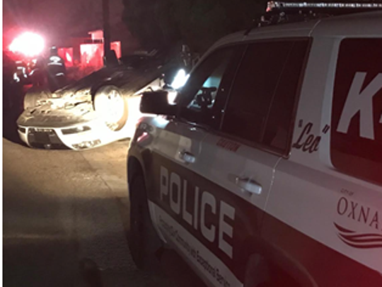 A stolen Volkswagen Passat flipped over when the driver tried to evade officers early Sunday, Oxnard Police reported.