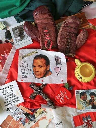 Fans of Muhammad Ali have left dozens of momentos,