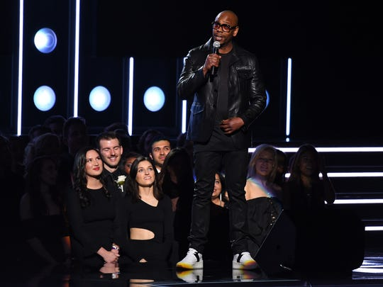 Dave Chappelle during the 60th Annual Grammy Awards at Madison Square Garden.