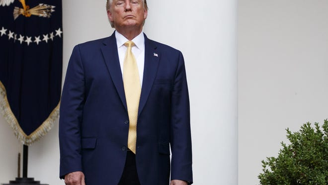 President Donald Trump stands during an event about the census in the Rose Garden at the White House in Washington, Thursday, July 11, 2019. (AP Photo/Carolyn Kaster)