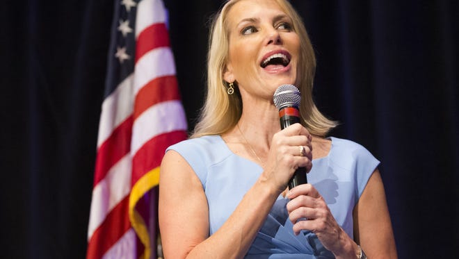 Laura Ingraham, conservative radio talk-show host, speaks to supporters during a Kelli Ward for senate campaign kickoff event at the Hilton Scottsdale Resort  October 17, 2017.
