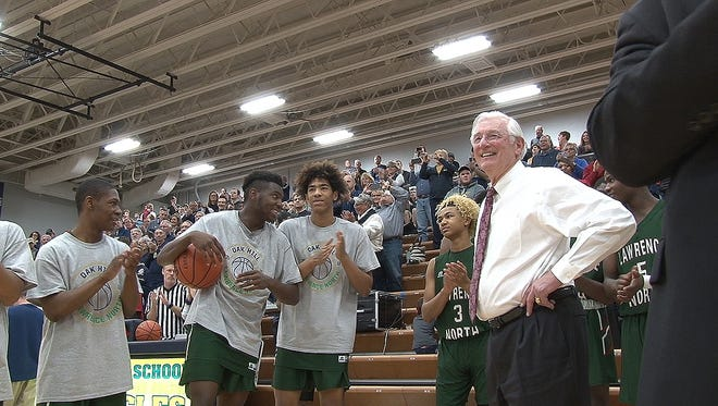 Lawrence North coach Jack Keefer was honored Saturday night at Oak Hill High School. Coach Keefer coached the Golden Eagles in the early 1970's before leaving for Lawrence North High School.
