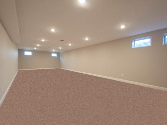 The finishes lower level offers recessed lighting and