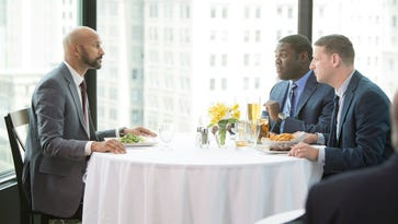 """Keegan-Michael Key (left) in a scene from """"Detroiters"""" with Sam Richardson and Tim Robinson."""