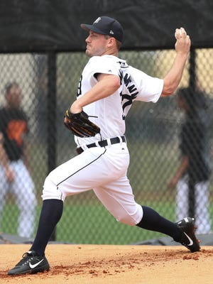 Tigers pitcher Jordan Zimmermann throws on the first day of spring training on Feb. 14 at the renovated Publix Field at Joker Marchant Stadium in Lakeland, Fla.