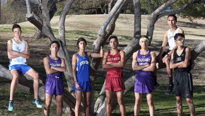 The athletes on the El Paso Times boys All City Cross Country first team are, from left: Erick Arambula of San Elizario, Adam Cortez of Franklin, Aaron Gilliam of Irvin, Sebastian Moreno of El Dorado, Anthony Cordero of Franklin, Anthony Molina of Eastwood and Michael Abeyta of Hanks.