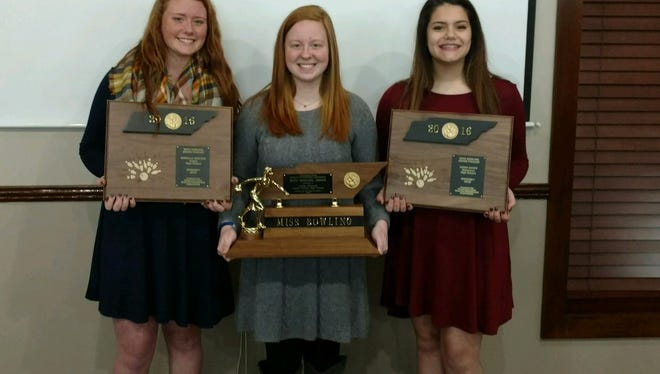 Hardin County's Ashley Channell (center) was named the TBPA Miss Bowler of the Year.