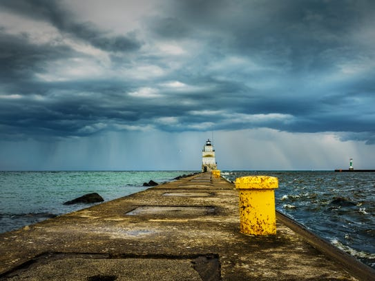 An August storm over the north pier on Lake Michigan