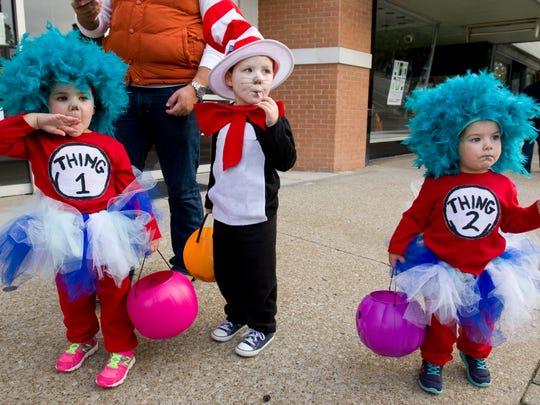 Dr. Seuss and his creations, Thing 1 and Thing 2, made an appearance at the annual Downtown Trick or Treat last year. The Henderson siblings are (from left) Aspen Walters, Oakley Walters, and Willow Walters.