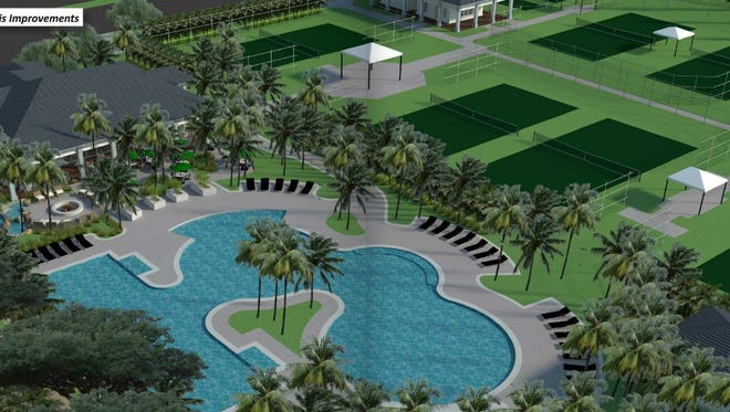 Mariner Sands plans to add a dining complex, pool and tennis courts as shown in this architect's rendering.