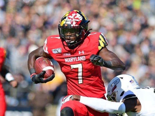 Oct 12, 2019; West Lafayette, IN, USA;    Maryland Terrapins receiver Dontay Demus Jr. (7) runs against the Purdue Boilermakers   in the first half at Ross-Ade Stadium. Mandatory Credit: Thomas J. Russo-USA TODAY Sports