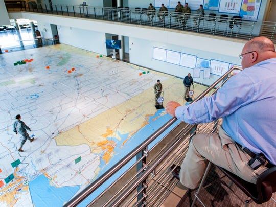 The Alabama National Guard uses a room sized map to show activations and movements of guard units as it conducts rehearsal of concept drills in preparation for hurricane season at the Alabama National Guard HQ in Montgomery, Ala. on Saturday March 19, 2016.