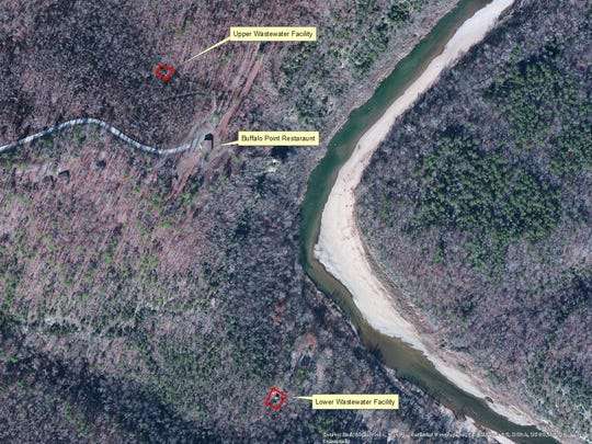 This Park Service aerial map shows where the two wastewater treatment plants are located in relation to the Buffalo River at Buffalo Point.