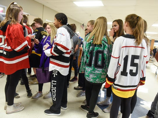 Hockey jerseys were everywhere during lunch at Cathedral