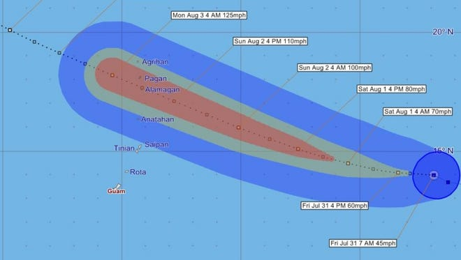 Tropical Storm Soudelor forecast tracking graphic issued 7 a.m., Friday July 31.