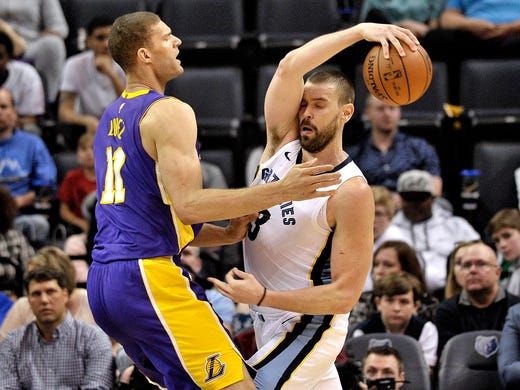 Memphis Grizzlies center Marc Gasol, right, controls the ball against Los Angeles Lakers center Brook Lopez (11) in the first half of an NBA basketball game Saturday, March 24, 2018, in Memphis, Tenn. (AP Photo/Brandon Dill)
