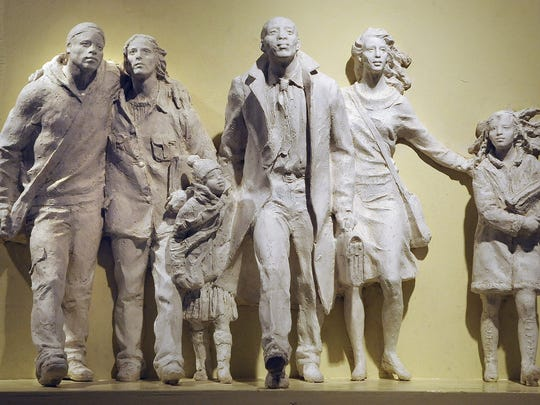 At an exhibit of Italian sculptures before the Sister City Agreement signing ceremony, between the city of Montgomery and Pietrasanta, Italy, at the Rosa Parks Library and Museum in Montgomery on April 29, 2009.