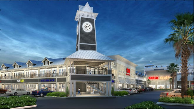 This rendering shows the proposed soaring clock tower at Island Plaza; as part of coming improvements to the site.