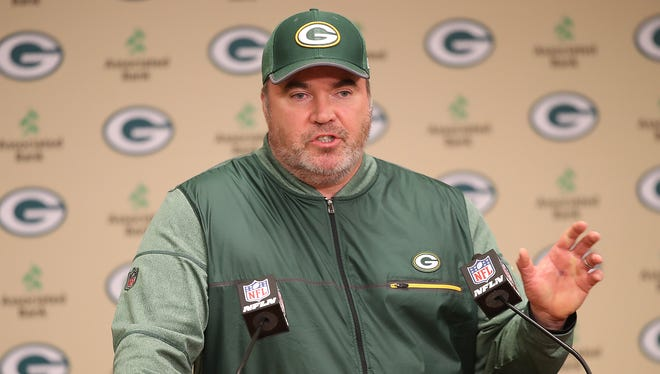 Green Bay Packers coach Mike McCarthy talks about his new staff on Jan. 24, 2018, at Lambeau Field.