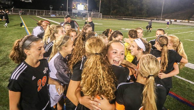 Central York players celebrate after defeating Fairfield 1-0 in the York-Adams girls' soccer final at Red Lion High School Thursday. Amanda J. Cain photo