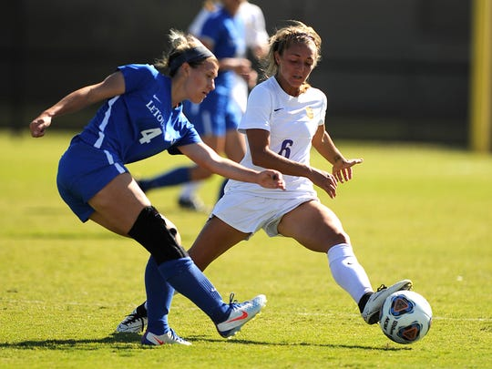 Hardin-Simmons' Madison McAdams (6) steals the ball from LeTourneau's Riley Scarborough (4) during a 2016 victory. McAdams spent three years at HSU as a player and two as a graduate assistant coach. She will take over the Wylie girls soccer program as head coach this season.