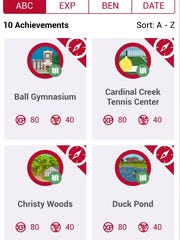 Screen shot of the Ball State University Achievements
