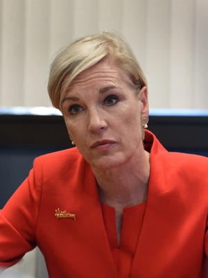 Planned Parenthood President Cecile Richards listens to a question from RGJ reporter in Feb. 10, 2016.