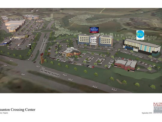 The design plans for the Staunton Crossing Center development
