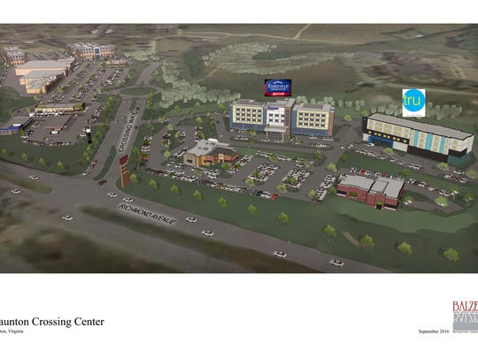 The design plans for the Staunton Crossing Center development off of U.S. 250 in Staunton, Va.