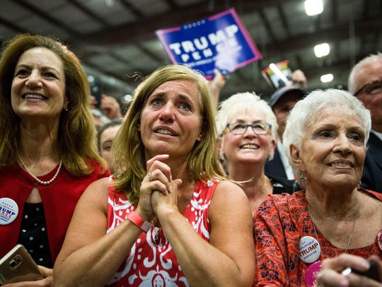 A crowd of supporters look on as Donald Trump speaks
