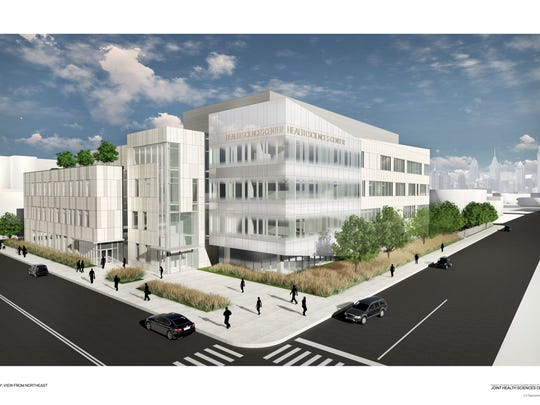 The planned Joint Health Sciences Center is to rise on the 200 block of Broadway in Camden.