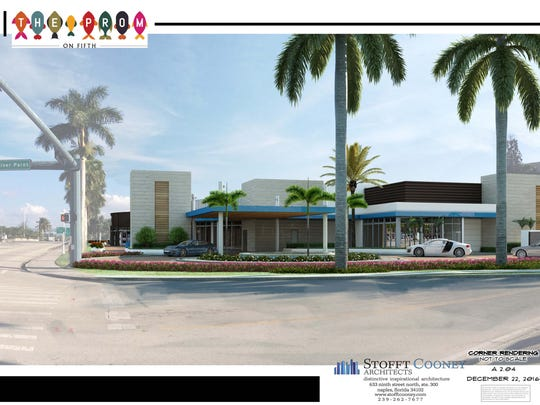 A building rendering shows the entrance to the future Prom on Fifth, which will include five restaurants with more than 400 seats of outdoor and rooftop dining on Naples Bay.