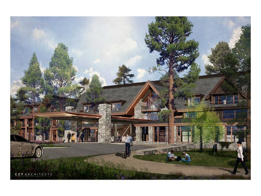 A rendering of the Lodge at Edgewood Tahoe, a LEED-designed,