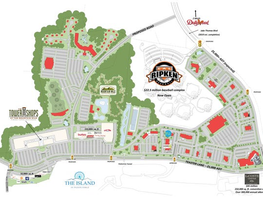 A concept plan for the Mountain Mile shows what could develop along Teaster Lane in Pigeon Forge.