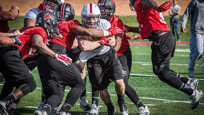 Ball State practices at Sheumann Stadium Tuesday, March 22, 2016.